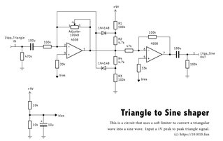 Triangle to Sine shaper shematic